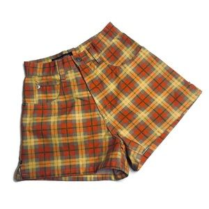 Vintage Cyclone Orange Plaid Shorts High Rise Mom